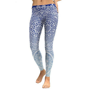 White & Blue Mandala Leggings