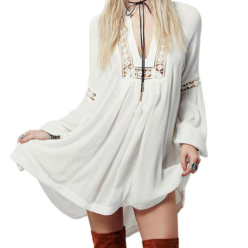 White Boho Beach Cover-Up Dress