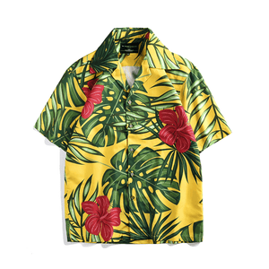 Yellow Tropical Button Up
