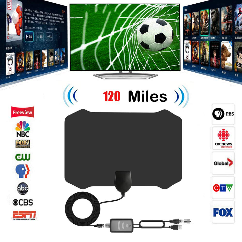 2019 Newest Best 120 Miles Long Range TV Antenna Free-view Local Channels  Indoor Basic HDTV Digital Antenna
