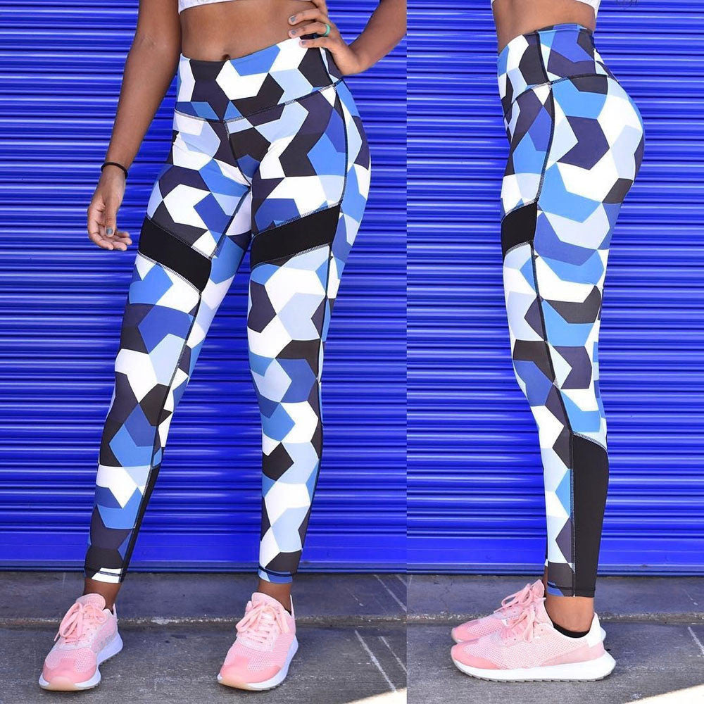 Women Blue Camouflage Sports Yoga Workout Gym Fitness Exercise Athletic Pants