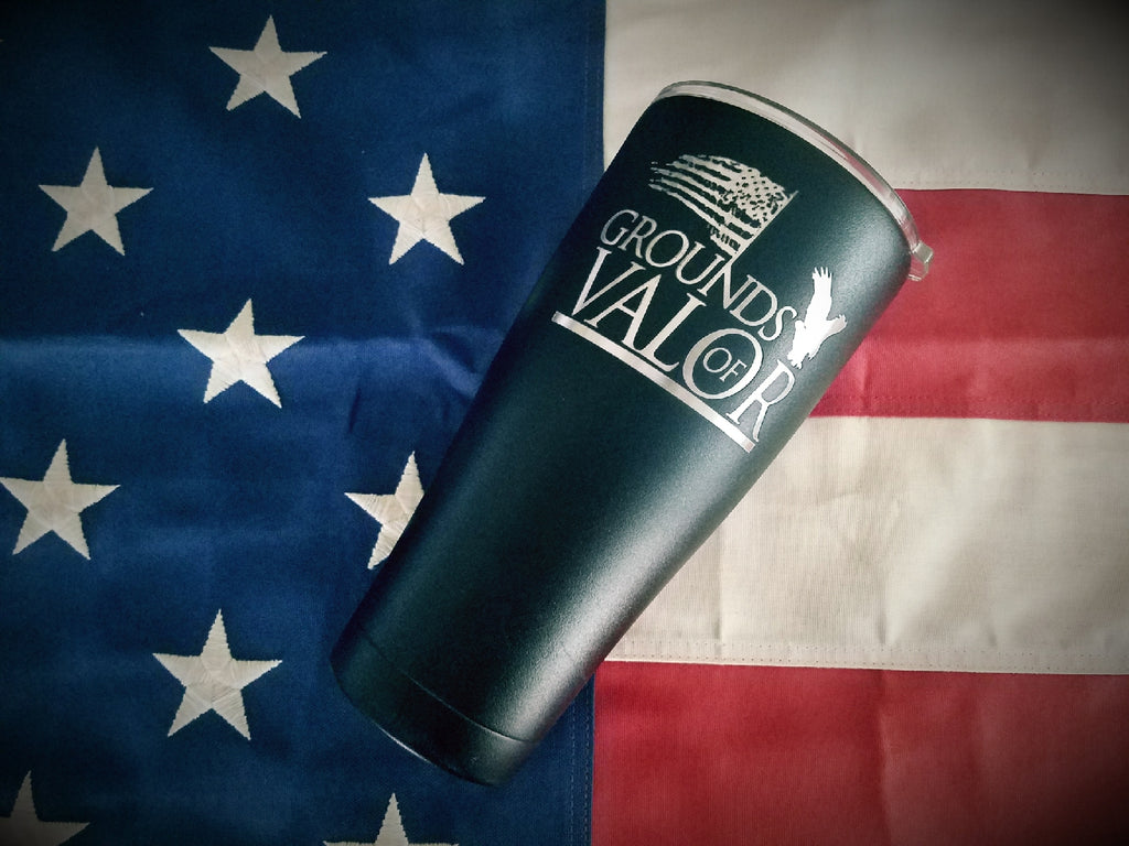 Grounds of Valor Engraved Powder Coated Tumbler(Hand Made)