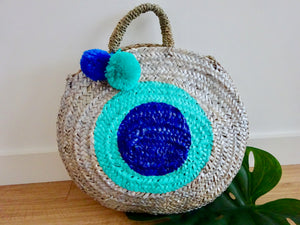 Blue dot woven basket bag