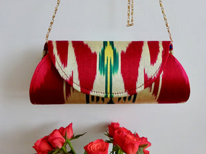 Barrel silk ikat bag