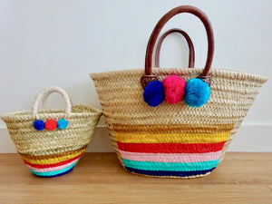 Mum and daughter rainbow market basket set