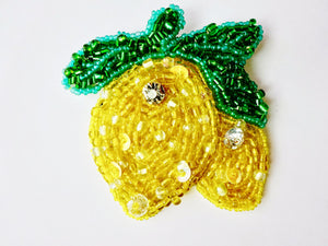 Lemons beaded brooch