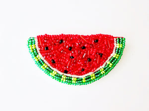 Watermelon beaded brooch