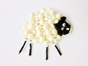 Sheep beaded brooch