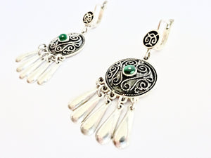 Malachite detail silver earrings