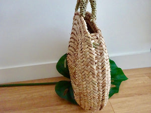 Vertical stripe woven basket bag