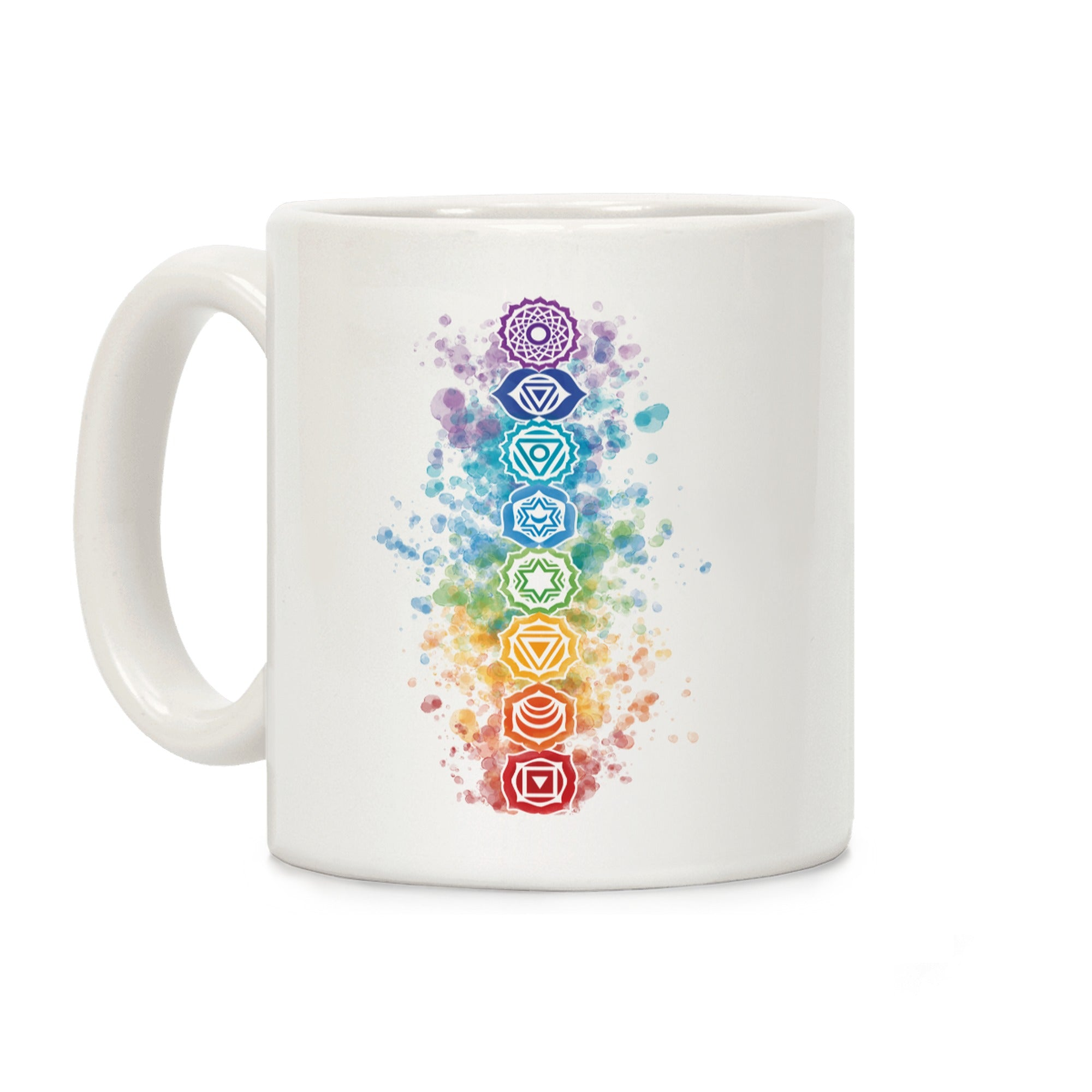 Watercolor Chakra Symbols Ceramic Coffee Mug