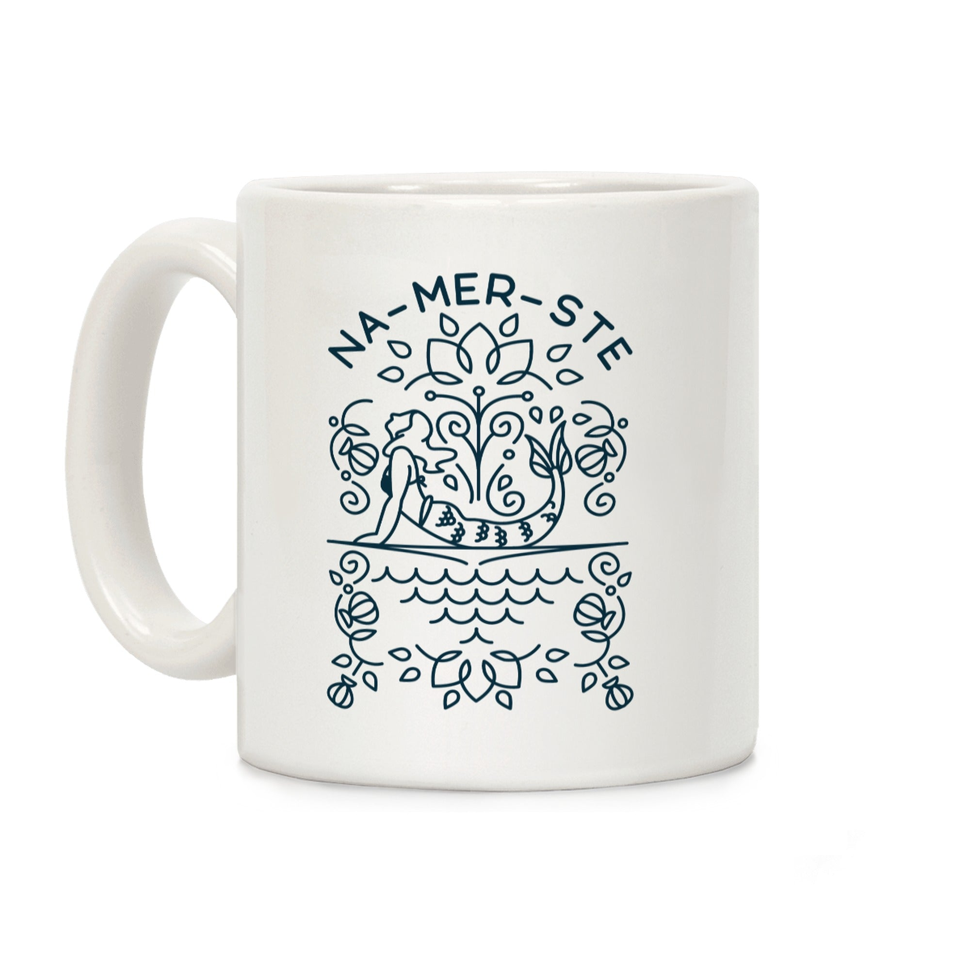 Na-Mer-Ste Mermaid Yoga Ceramic Coffee Mug
