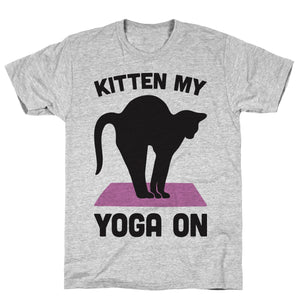 Kitten My Yoga On Athletic Gray Unisex Cotton Tee