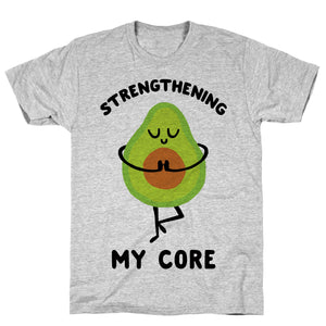 Strengthening My Core Athletic Gray Unisex Cotton Tee