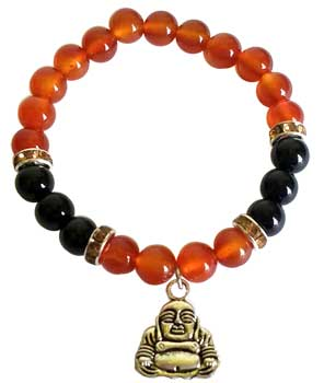 8mm Carnelian/ Black Onyx with Buddha