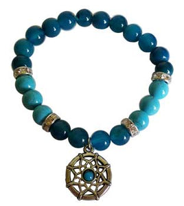 8mm Blue Onyx/ Blue Turquoise with Dream Catcher