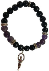 8mm Purple Goldstone/ Amethyst with Goddess