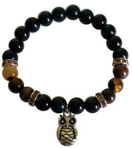 8mm Blue & Yellow Tiger Eye with Owl