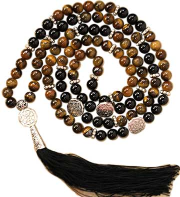 Tiger Eye & Black Agate Buddhist Wheel elastic mala