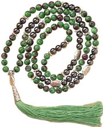 Ruby Zoisite (Anyolite) & Hematite Leaves elastic mala