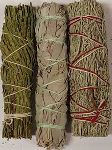Cedar, White & Blue Sage smudge stick 3-Pack 4""