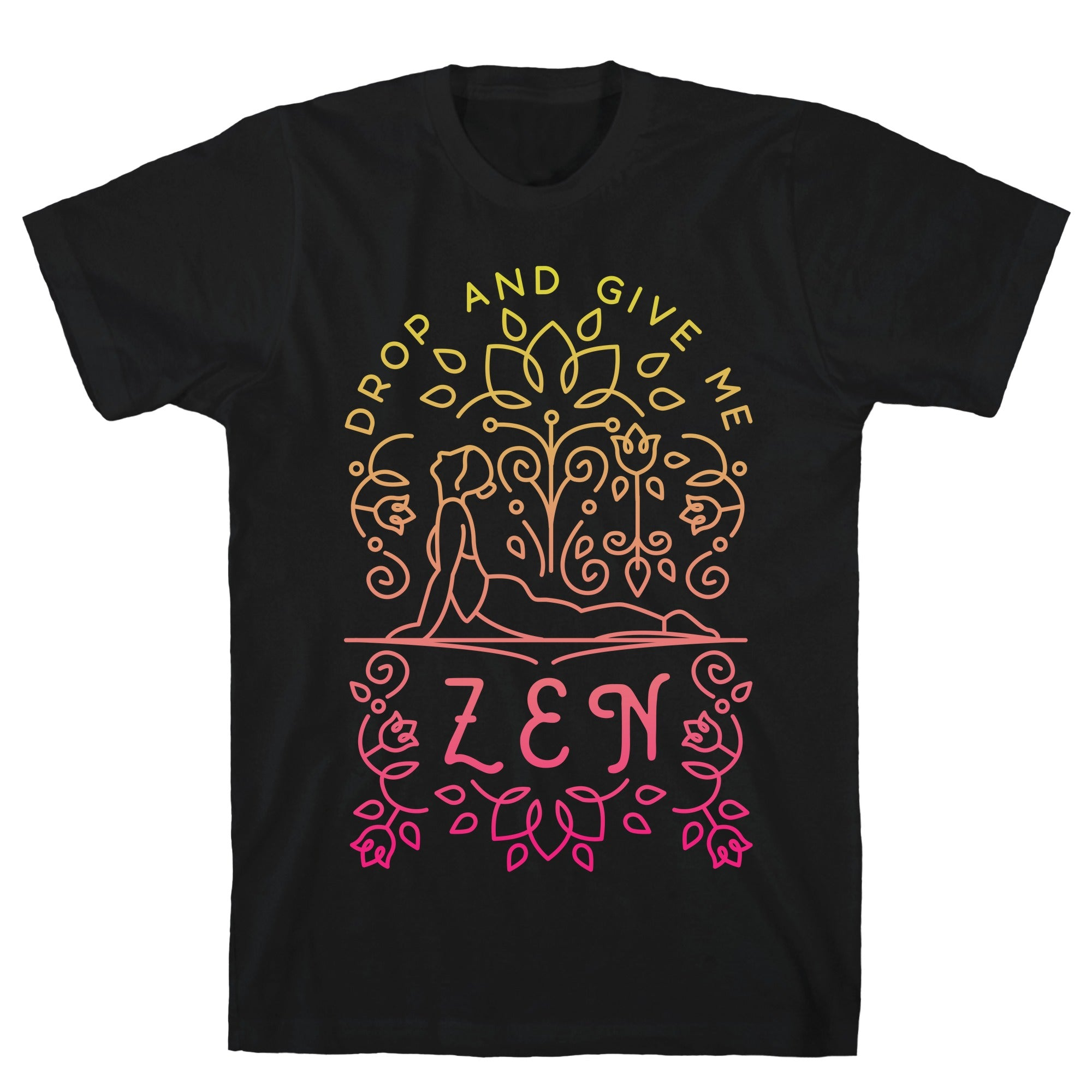 Drop And Give Me Zen Black Unisex Cotton Tee