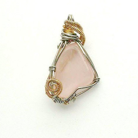 Rose Quartz Necklace - Brass & Silver
