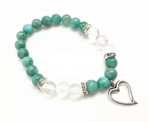 8mm Amazonite/ Quartz with Heart
