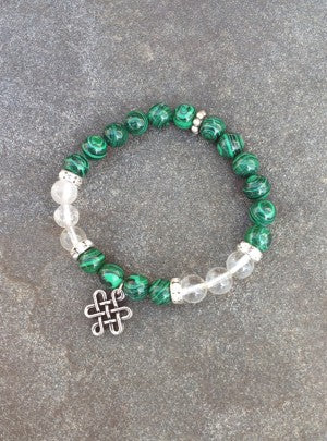 8mm Malachite/ Quartz with Celtic Knot