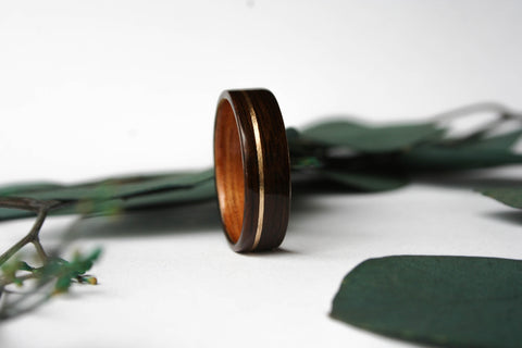Macassar Ebony Wooden Ring with Hawaiian Koa Wood Lining and Offset Yellow Gold Inlay - Wooden Wear