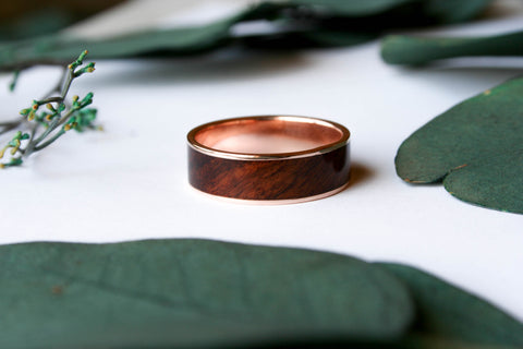 14k Rose Gold Ring Inlaid with Santos Rosewood - Wooden Wear
