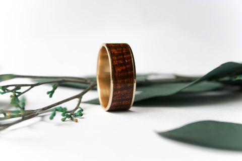 14k Yellow Gold Ring Inlaid with Exhibition Koa Wood - Wooden Wear