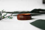 Cross Grain Santos Rosewood Bentwood Ring with Curly Cherry Lining and Rose Gold Inlay - Wooden Wear