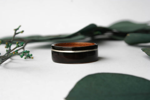 Macassar Ebony Wooden Ring with Hawaiian Koa Wood w/ Offset White Gold Inlay - Wooden Wear
