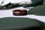 Macassar Ebony + Hawaiian Koa Wooden Ring w/ Offset Rose Gold Inlay - Wooden Wear