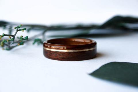 Santos Rosewood + Hawaiian Koa Wooden Ring w/ Offset Yellow Gold Inlay - Wooden Wear
