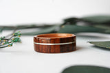 Cross Grain Santos Rosewood Bentwood Ring with Curly Cherry Lining and White Gold Inlay - Wooden Wear