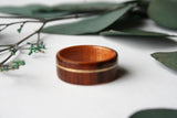 Cross Grain Santos Rosewood Bentwood Ring with Curly Cherry Lining and Yellow Gold Inlay - Wooden Wear