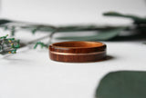 Thin Cross Grain Santos Rosewood Bentwood Ring with Curly Cherry Lining and Rose Gold Inlay - Wooden Wear