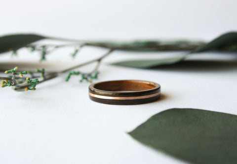 3mm Thin Macassar Ebony + Hawaiian Koa Wooden Ring w/ Centered Rose Gold Inlay - Wooden Wear