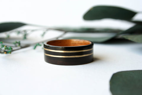 Wide Macassar Ebony + Hawaiian Koa Wooden Ring w/ Double Wide 14k Yellow Gold Inlay - Wooden Wear