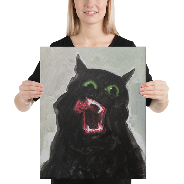 Black Cat Signed Canvas 16x20""