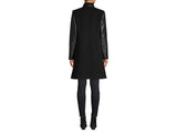 HiSO Leather Sleeve Wool & Cashmere-Blend Coat