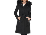 Karl Lagerfeld Faux Fur Trim Wool Blend Coat