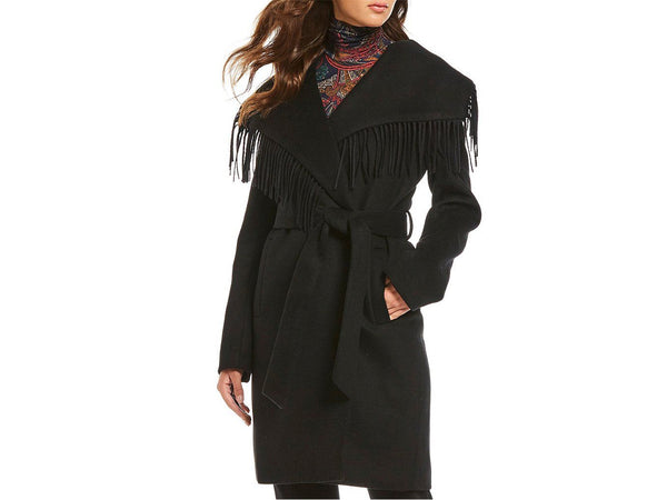 Lauren Ralph Lauren Fringe Wool Blend Wrap Coat