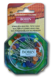 Quilter's flower head pin Ideal for patchwork and quilting This package contains fifty head pins Pin comes in re-usable plastic container