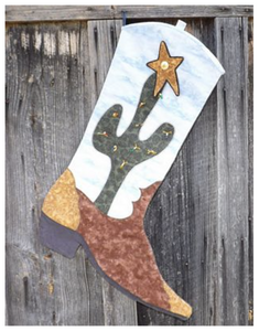 Cactus Boot Christmas Story — Christmas Stocking — Pattern Five in the Boot Stocking Series by Story Quilts