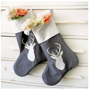 His and Hers Deer Christmas Stockings by Sewn Into the Fabric