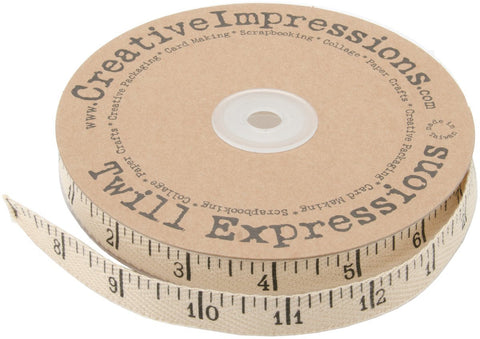 "Antique Ruler Twill Tape, 100% Cotton, 1/2"" wide"