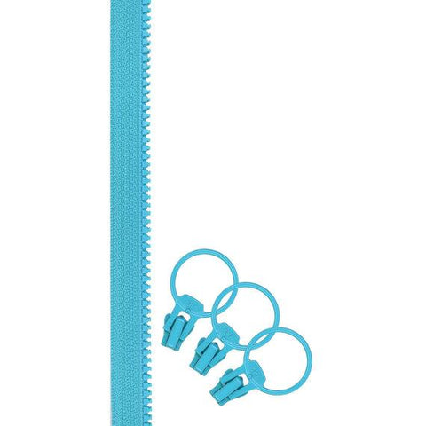 "Jelly Freedom Zipper, 48"" Zipper Tape with 3 Sliders, Turquoise"